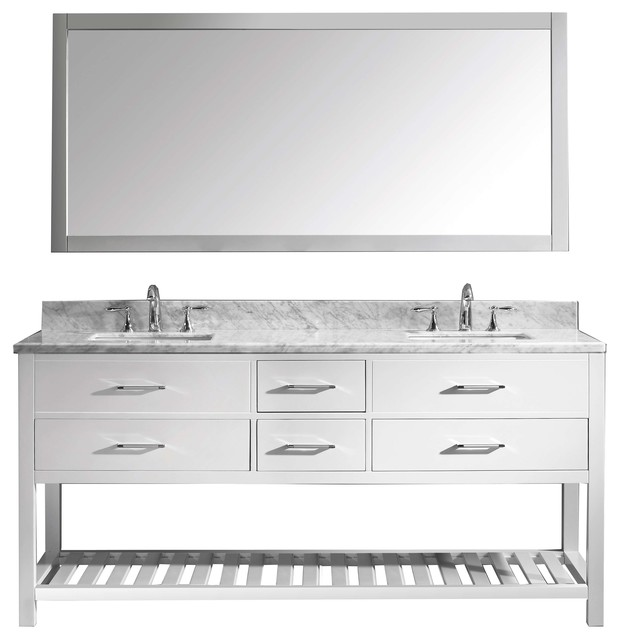"Caroline Estate 72"" Double Bathroom Vanity Cabinet Set - Transitional - Bathroom Vanities And ..."