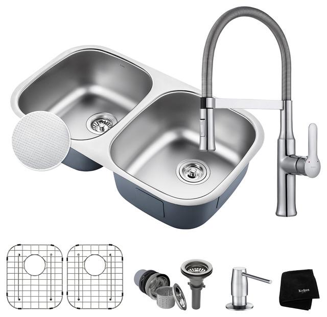 "KRAUS Outlast 32"" 50/50 Kitchen Sink, Nola Faucet and Soap Dispenser, Chrome"