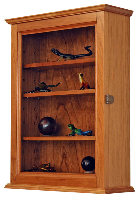 Cherry Wall Hanging Curio Cabinet - Traditional - Display And Wall Shelves - by Fine Wood Display