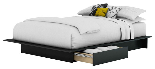 Full/queen Size Modern Platform Bed Frame With 2 Storage Drawers.