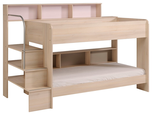 Bibop 2 Bunk Twin-Over-Twin Bed With Trundle (2 Mattresses Included), Acacia.