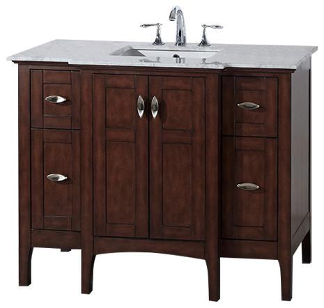 "Bellaterra 44"" Single Sink Bathroom Vanity Wood Sable Walnut Cabinet Only."