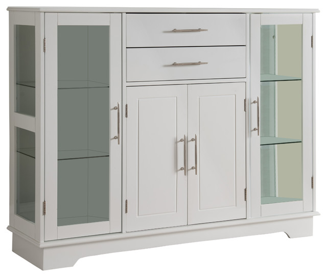 Kitchen Storage Cabinets With Glass Doors: White Wood Kitchen Buffet Display Cabinet With Storage