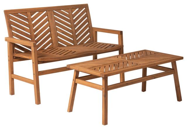 Remarkable 2 Piece Chevron Outdoor Patio Chat Set Brown Unemploymentrelief Wooden Chair Designs For Living Room Unemploymentrelieforg