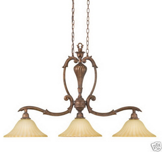 Kichler Bershire Bronze And Antique Umber Etched Glass