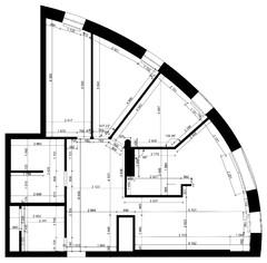 Поиск планировки: Квартира в форме четвертинки пиццы — 3 плана