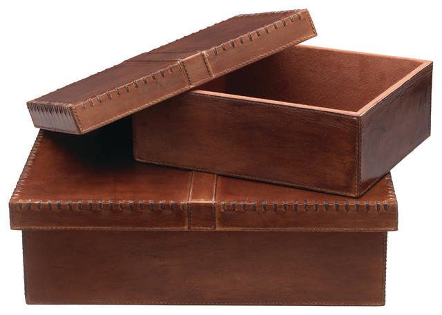 Well Dressed Wood Leather Hide Box Set Of