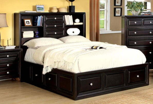 804 Free Shipping Espresso Wood Queen Platform Bed Bookcase