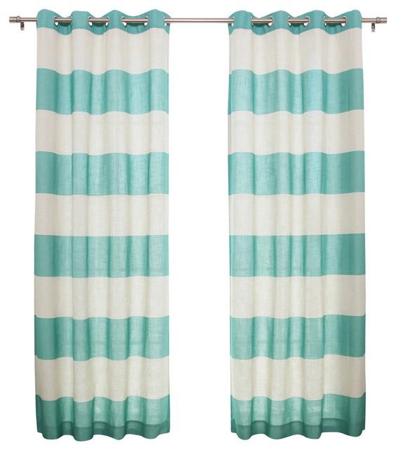 Cabana Stripe Flex Linen Blend Grommet Top Curtains, Pair, Blue.