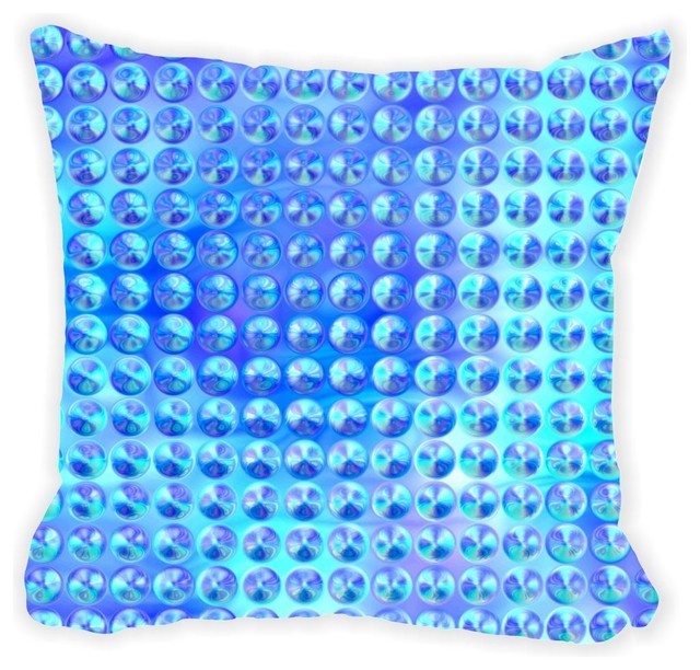 Rikki Knight LLC Glassy Blue Circles Microfiber Throw Pillow - Decorative Pillows Houzz