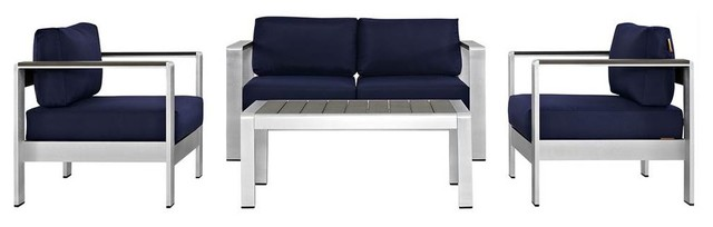 4-Piece Outdoor Sectional Sofa Set, Navy and Silver