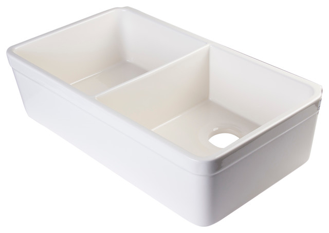 ... Fireclay Kitchen Sink With Lip, Biscuit, 32