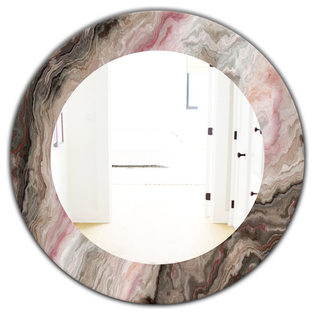 Designart Marbled Geode 17 Midcentury Frameless Oval Or Round Wall Mirror Contemporary Bathroom Mirrors By Design Art Usa