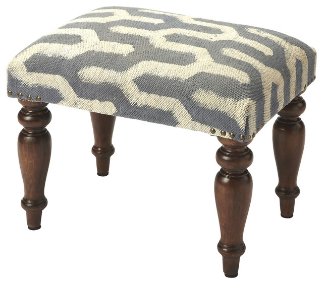 Marvelous Butler Yolanda Faded Blue White Print Vanity Stool Caraccident5 Cool Chair Designs And Ideas Caraccident5Info