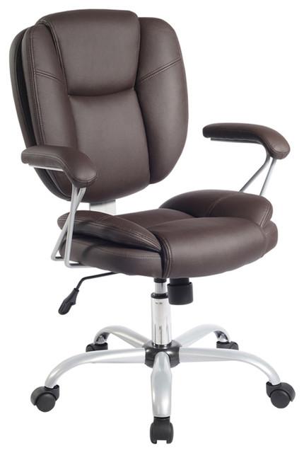 Techni Mobili Plush Pneumatic Seat Height Adjustable Task Chair, Brown