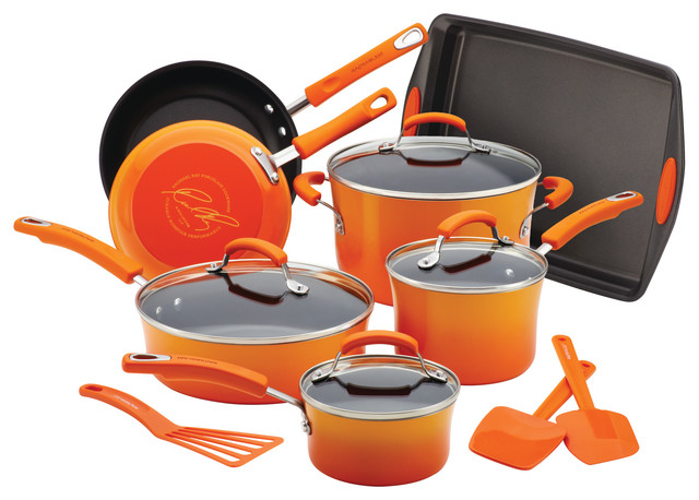 Rachael Ray Porcelain 14-Piece Cookware Set, Gradient Orange.