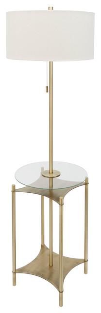 Alyssa Metal Side Table Floor Lamp, Gold.