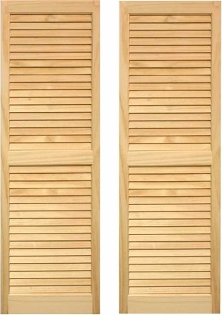 "Pinecroft Exterior Louvered Shutters 15""x55""."