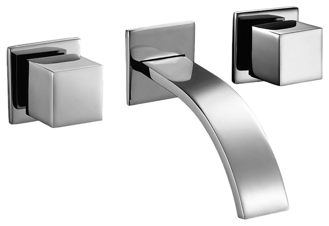 Chrome Two Square Handle Angular Design Modern Wall Mount Lavatory Faucet