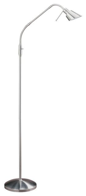 """Oslo Series 53"""" Satin Nickel Halogen Floor Lamp."""