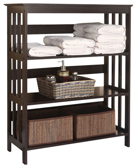 Free Standing Espresso Wooden 3 Tier Storage Bathroom Shelf Contemporary Bathroom Cabinets