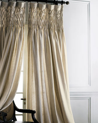 Smocked Linen Curtain traditional-curtains