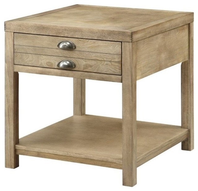 bowery hill storage end table light oak side tables and end tables by homesquare. Black Bedroom Furniture Sets. Home Design Ideas