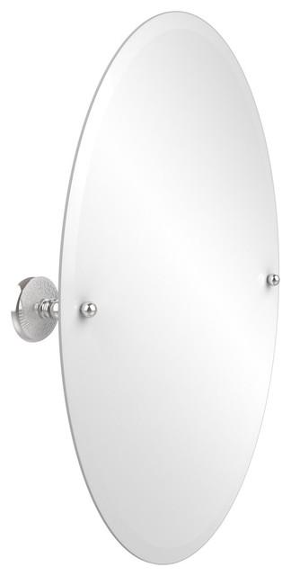 "29""X21"" Oval Tilt Mirror, Polished Chrome"