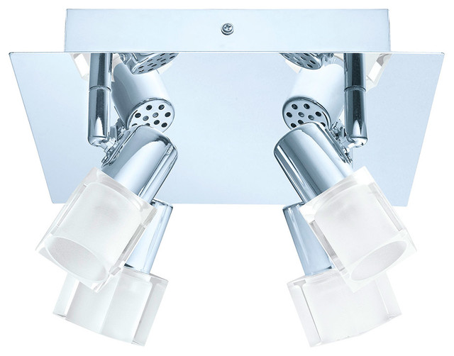 4x4.2W LED Square Ceiling Track Light, Chrome Finish and Clear Glass ...