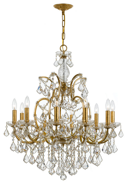 Crystorama filmore 10 light clear crystal gold chandelier traditional chandeliers by lampclick - Traditional crystal chandeliers ...