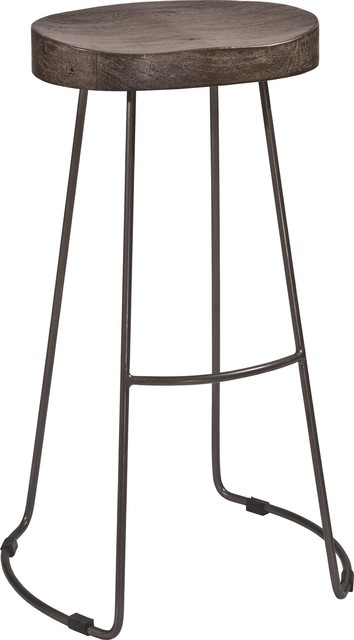 Hobbs Tractor Non-Swivel Counter Stool, Pewter Metal/weathered Gray Wood Seat.