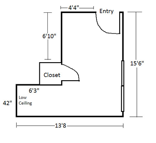 small l shaped bedroom design problem