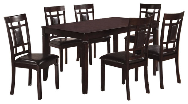 7-Piece Dining Set, Espresso Brown.