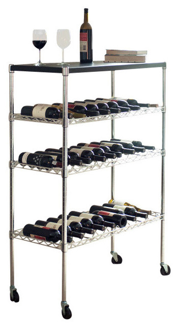lavish home rolling chrome wine rack cart portable bar view in your room houzz. Black Bedroom Furniture Sets. Home Design Ideas
