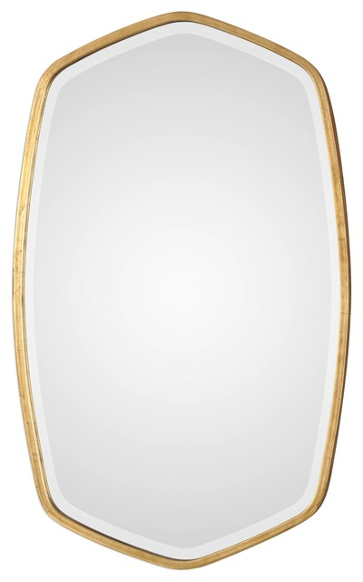 Duronia Transitional Antiqued Gold Leaf Wall Mirror.