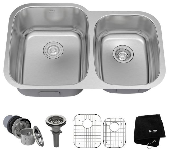 """Kraus 32"""" Undermount 60/40 Kitchen Sink 16g Stainless Steel With Accessories."""