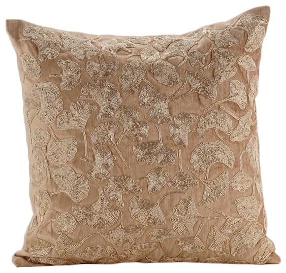 Contemporary Decorative Pillows: Gold Tulip Flower Gold Velvet Cushion Covers, Golden