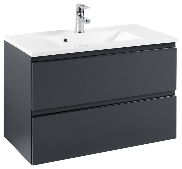 Cardiff Bathroom Vanity Unit, Glossy Grey and Graphite Grey, 80 cm