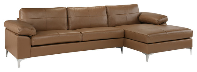 Contemporary L-Shape Leather Sectional Sofa, Right Chaise, Light Brown