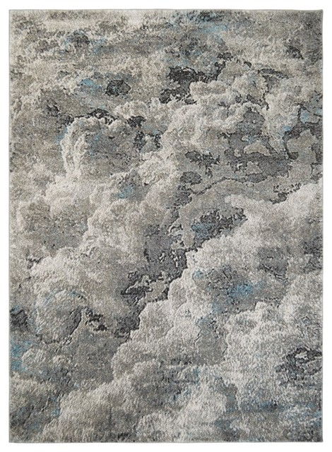 Modern Accent Rug In Blue With Fissured