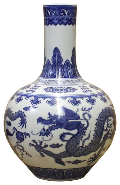 Handmade Chinese Blue White Porcelain Oriental Dragons Scenery Graphic Vase