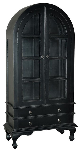 Wooden Cabinet in Light Distressed Black Finish - Traditional - China Cabinets And Hutches - by ...