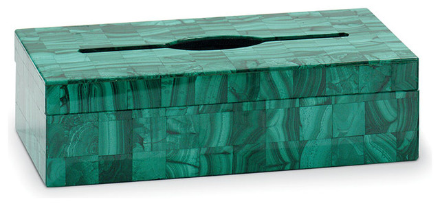 Semiprecious Stone Oblong Tissue Box, Malachite