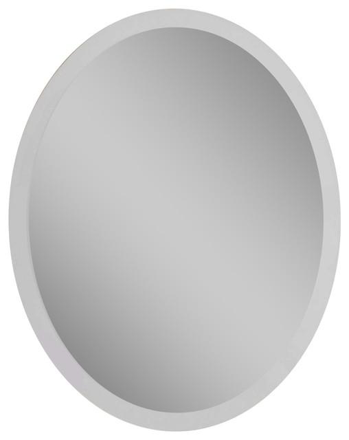 "Frameless Vanity Oval Mirror, 24""x1""x36""."