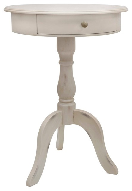 mango wood pedestal side table weathered with drawer antique white traditional tables