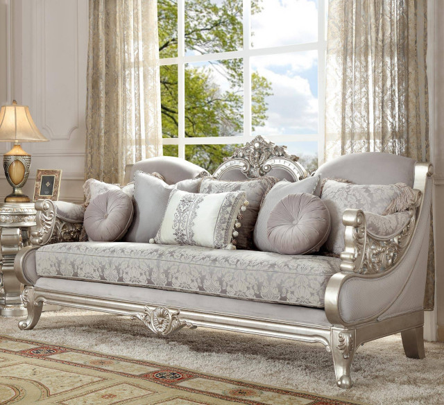 TRADITIONAL STYLE METALLIC SILVER CARVED WOOD LUXURY FABRIC FINISH SOFA