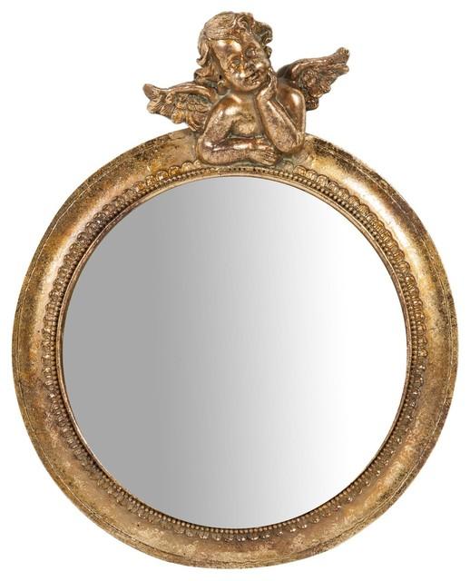 Cherub Round Wall Mirror, Gold, 25x35 cm