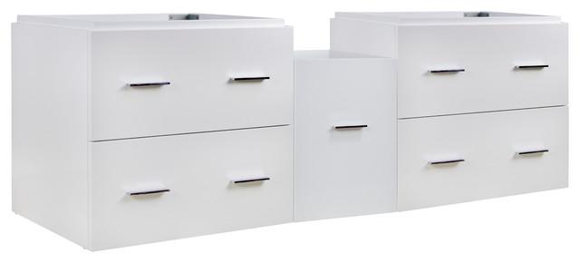 White Modern Wall Mount Plywood-Veneer Vanity Base Only.