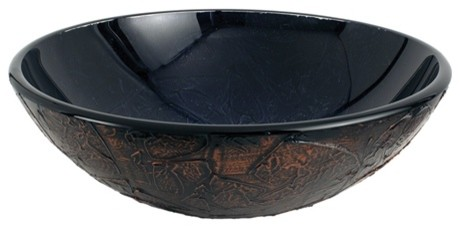 Fauceture Onyx 16.5 Diameter Round Glass Vessel Sink, Onyx.