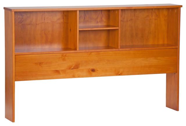 100% Solid Wood Kansas Full Bookcase Headboard, Honey Pine.
